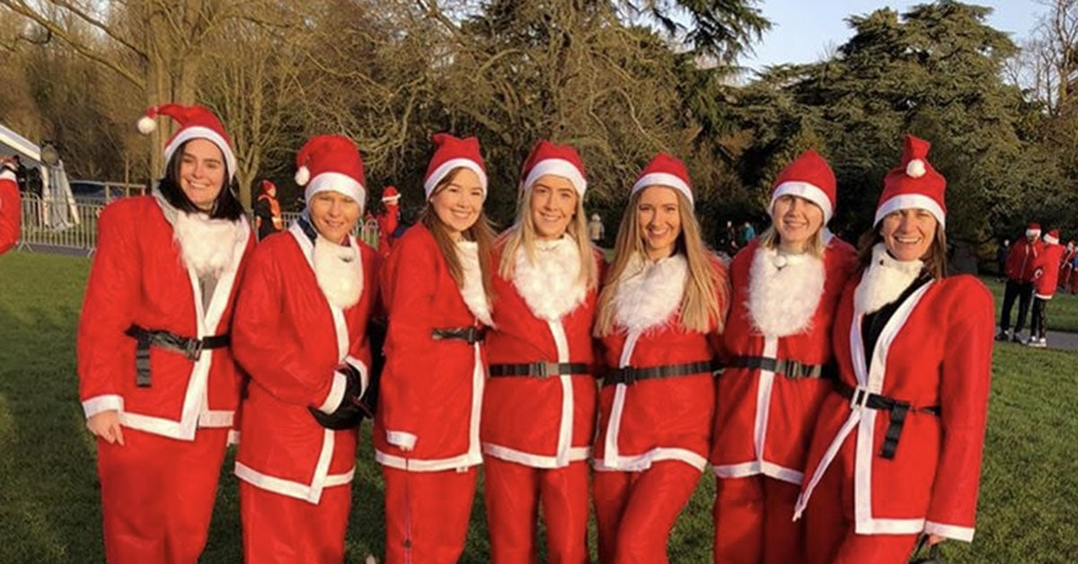 Staff from Euston Place Dental Practice participating in the Leamington Spa Santa Dash